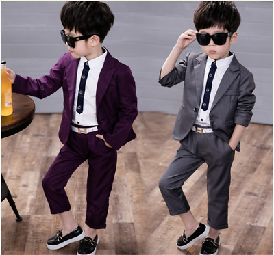 Kids Baby Boys Wedding Party Suit Outfits Concert Gentleman Coat+Pants Clothing