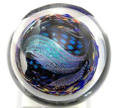 Murano Art Glass Dichroic Paperweight Signed