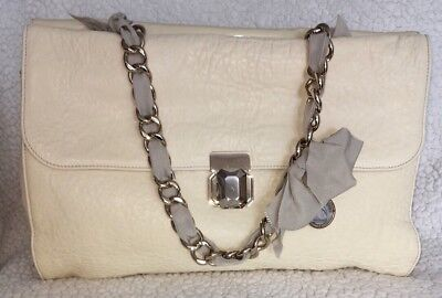 LANVIN Shoulder Hand Bag In Antique Cream Ivory Leather W Fabric Chain Strap New