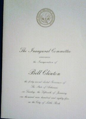 Bill Clinton 1985 Governor Inaugural pamphlet