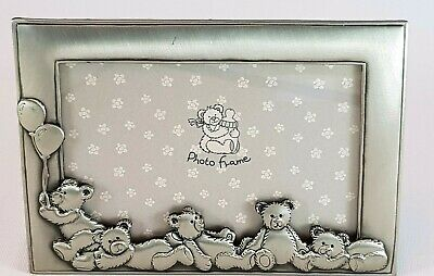 Baby Silver Metal Cute Teddy Bear Embossed Picture Frame Nursery Bedroom Decor