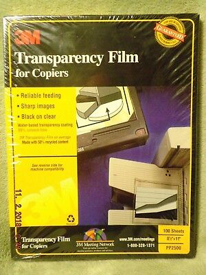"3M Transparency Film For Copiers 100 Sheets 8.5"" x 11"" PP2500 Factory Sealed"