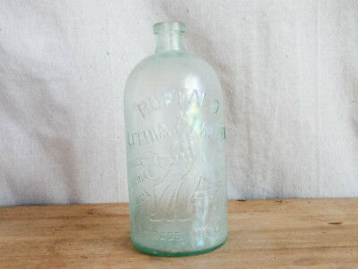 Antique 1800s Buffalo Water Lithia Glass Embossed Aqua Bottle Edward H Everett
