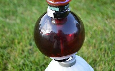 "1 Antique 3.5"" Deep Red Ruby Oxblood Lightning Rod Weathervane Glass Ball w/caps"