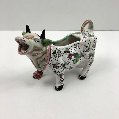 Vintage Ceramic Cow Creamer Hand Painted Floral Made in Portugal Signed