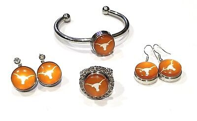 Texas Long Horns Snap Jewelry various styles Stretch Ring, Earrings , Bracelet