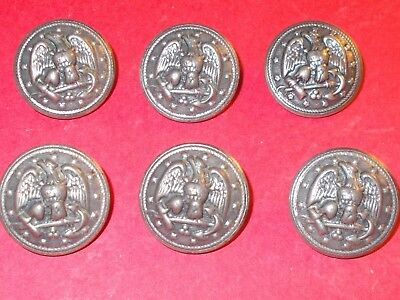 Lot of 6 vintage USN Navy Uniform Silver tone metal Buttons