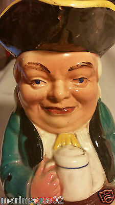 TOBY JUG antique vintage original hand made toby jug vase music box not working