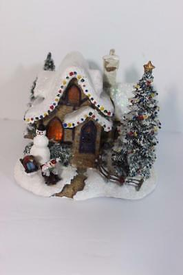 Tela Flora Thomas Kinkade Christmas Village Sweetheart Cottage LightUp House
