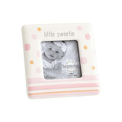 Beginnings by Enesco Little Sweetie Baby Girl 4 x 4 Photo Frame, Pink and White