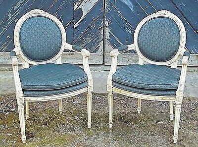 Vintage Pair Of Mid Century French Louis Xvi Carved+Painted Oval Back Armchairs