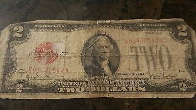 1928 G Series $2 Two Dollar Red Seal Note Bill US Currency / E01432542A