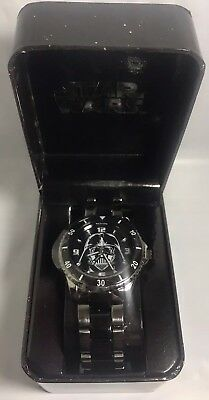 Rare Star Wars Accutime Darth Vader Metal Black Watch Gift Box 2014 Lucasfilm