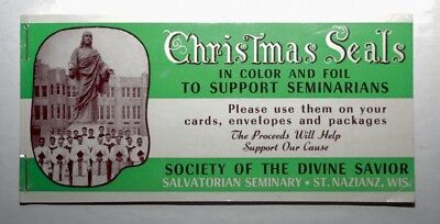 Vintage Christmas Seals Society of the Divine Savior St. Nazianz Wisconson Foil