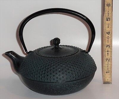 Signed Japanese Cast Iron Arare Hobnail Tetsubin Teapot Tea Kettle Unknown Maker