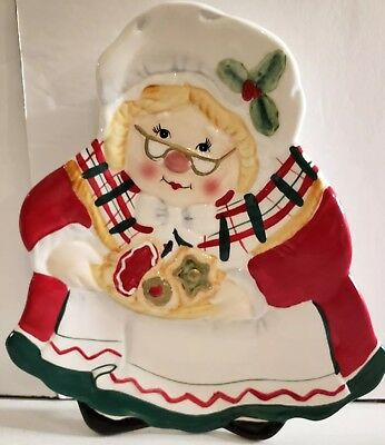 Fitz & Floyd Gift Gallery Mrs. Santa Claus Cookie Plate Tray