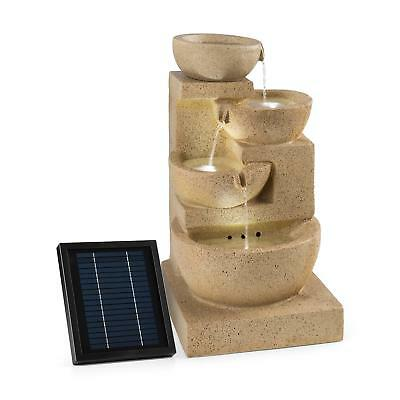 4 Tier Cascade Birdbath Garden Fountain Solar Powered Pump Free Standing Deco