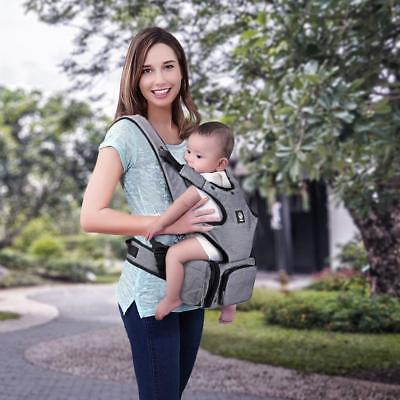 Baby Carrier with Hip seat and Baby Diaper Bag 2-in-1 by Unihope,360° Ergonomic