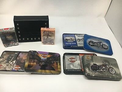 Lot Harley Davidson Playing Cards 3 Different Tins & 1 Leather Case