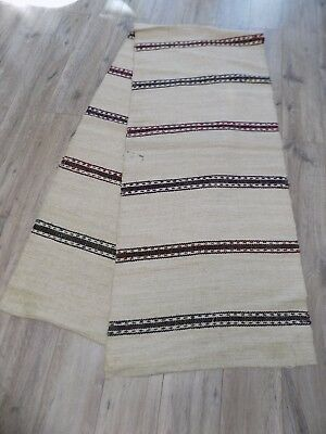 Antique Rug Runner 2,8x0,59m Hemp Wool Flax 1920s Ukraine Not used