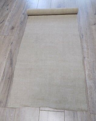 Antique homespun Hemp Fabric Raw Beige 4,2x0,54m 19thC Great condition