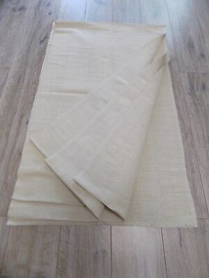 Antique homespun Linen Fabric 1930s Beige Cotton basis 59x600cm Great condition