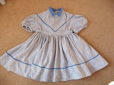 "Vintage baby dress blue brushed cotton by Marjolaine France 20"" chest 18/24mths"