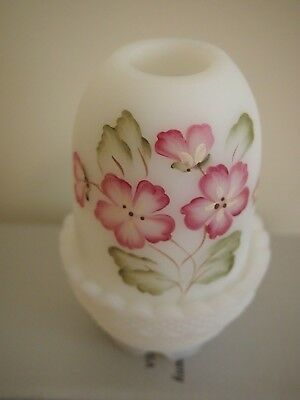 """fenton"" White Satin, Hand Painted By Fenton Artist, Fairy Lamp 12Cm Approx"