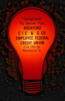 Rockford IL CIE & G Co Night Light Plug In Vintage Employee Fed Credit Union