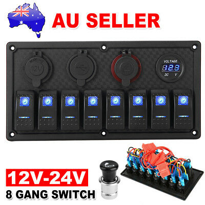 8 Gang Blue LED Rocker Switch Panel Circuit Breaker USB For Car RV Boat Marine