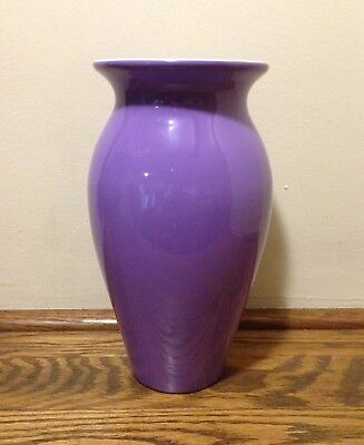 Light Purple Amethyst Lavender Porcelain Vase White Interior 8""