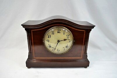 Antique Gilbert Mahogany & Inlay Mantle Clock