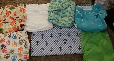 NWT Reusable Wegrecco Baby Cloth Diapers One Size Fits All Lot of 6 + baggie