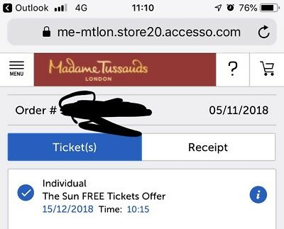 2X E-Tickets For Madame Tussauds