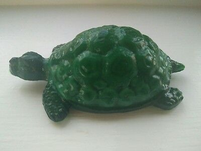 Malachite glass turtle figurine statue vintage green glass animal  figurine