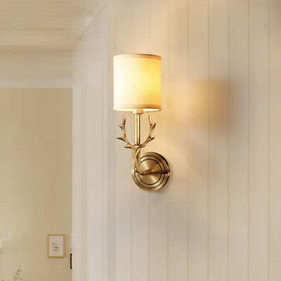 Vintage White Fabric Shade Brass Deer Horn Indoor Wall Lights Night Lamp Sconces