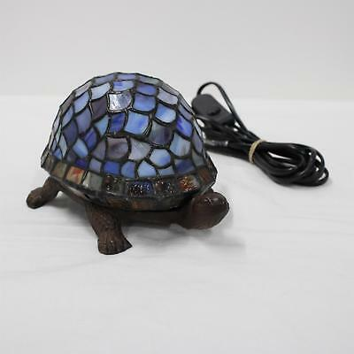 Stained Glass Tiffany Style Leadlight Brass Turtle Table Lamp Working Blue #908