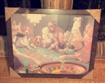 Vintage Gambling Dogs framed Advertising Promotional Breweriana Rare Retro 70s