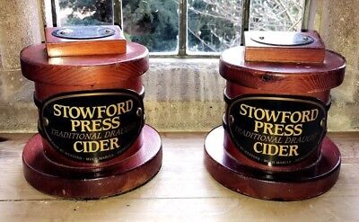 Pair 2 x STOWFORD PRESS CIDER WOODEN BAR TOP's FONT Promotional Breweriana Rare!