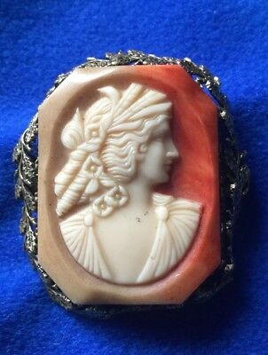 Antique Art Deco Gold Tone Metal Faux Lady Cameo Early Plastic Bakelite Brooch