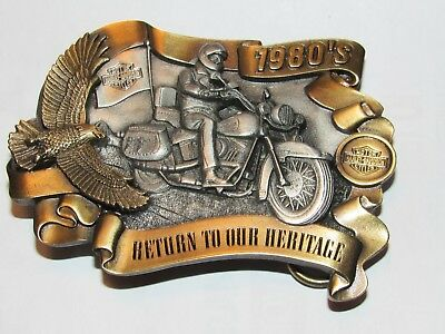 """Harley Davidson Limited Edition Buckle """"Return To Our Heritage"""" Decades 1980's"""