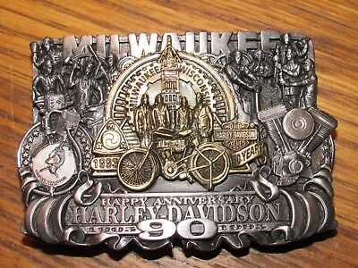 1993 Harley Davidson Milwaukee 90th Happy Anniversary Collectors Limited Buckle