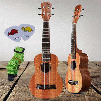 "21"" Wood Soprano Ukulele Guitar Sapele 4 String 15 Frets Hawaiian Instrument"