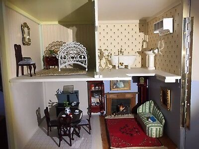 Restored dolls house pink Harrods x-mas present girl complete with furniture