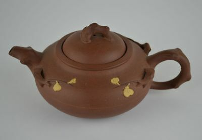 Vintage Chinese Yixing Clay Teapot with Applied Decoration