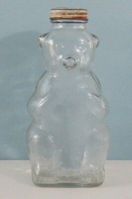 "Vintage Clear Glass Bear Bottle Bank 7"" - Snow Crest Beverages, Salem, Mass"