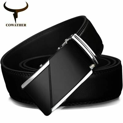 Genuine Leather Belts Men High Quality Male Brand Automatic Ratchet Buckle belt