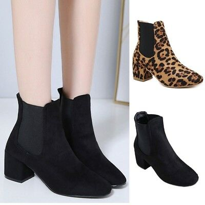 70bea5e2627d Womens Chunky Block Heel Chelsea Ankle Boots Faux Suede Leather Shoes Girls  Size