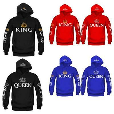 Mens Womens King Queen Couple Hoodies Jumper Pullover Hooded Sweatshirt Coat one
