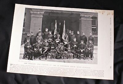 1896 Photo print OFFICERS & COLOURS 1ST. BATT. ROYAL SCOTS FUSILIERS + NSW Caval